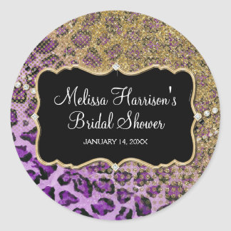 Bridal Shower Purple Gold Leopard Animal Print Classic Round Sticker