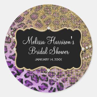 Bridal Shower Purple Gold Leopard Animal Print Round Sticker