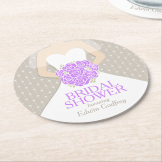 bridal shower purple white dress custom coasters