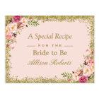 Bridal Shower Recipe Blush Gold Glitters Floral Postcard