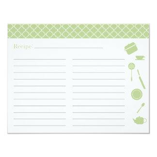 Bridal Shower Recipe Card - Green 11 Cm X 14 Cm Invitation Card