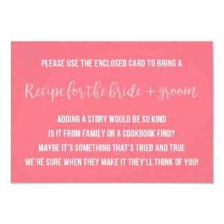 Bridal Shower Recipe Card Saying Invitation Insert