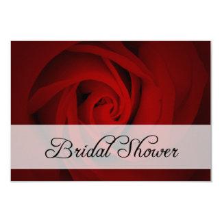 bridal shower : red rose 9 cm x 13 cm invitation card