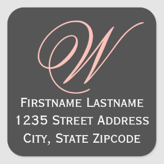 Bridal Shower Return Address Sticker | Black Peach