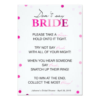 Bridal Shower Ring Game | Pink Magenta Confetti Card