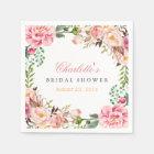 Bridal Shower Romantic Chic Floral Wreath Wrap Disposable Serviette