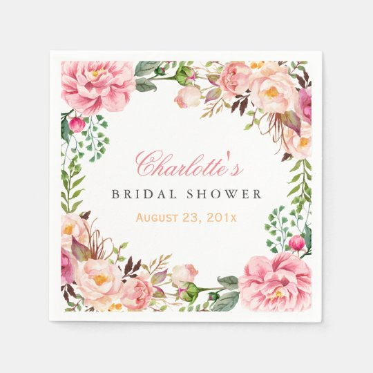 Bridal Shower Romantic Chic Floral Wreath Wrap Paper