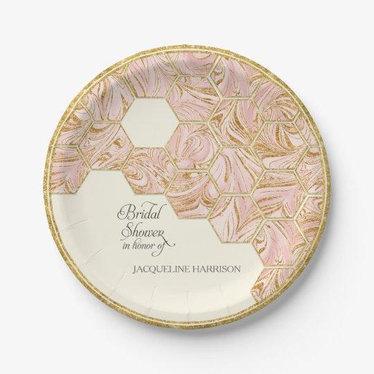 Bridal Shower Rose Gold Glitter Marble Hexagonal Paper