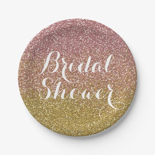 Bridal Shower Rose Gold Glitter Paper Plates