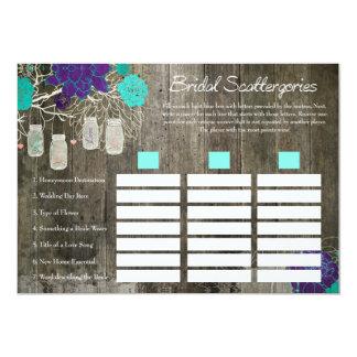Bridal Shower Scattergories Game | Rustic Floral Card