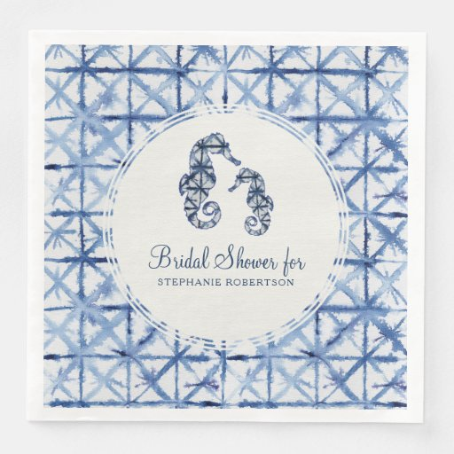 Bridal Shower Seahorse Beach Shibori Indigo Ocean Disposable Napkin