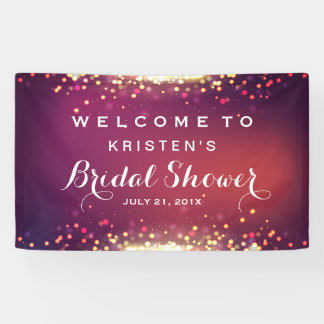 Bridal Shower Shimmer Gold Glitter Sparkles Banner