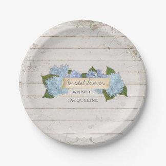 Bridal Shower Shiplap Wood Vintage Blue Hydrangea 7 Inch Paper Plate