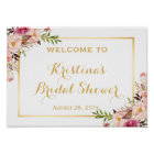 Bridal Shower Sign Elegant Chic Floral Gold Frame