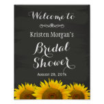 Bridal Shower Sign Elegant Sunflowers Chalkboard