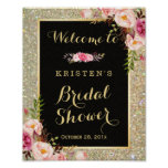 Bridal Shower Sign Gold Glitter Sparkles Floral Poster
