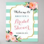 Bridal Shower Sign Modern Floral Mint Green Stripe