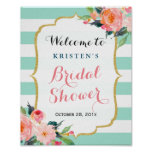 Bridal Shower Sign Modern Floral Mint Green Stripe Poster