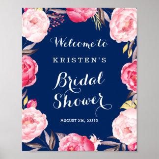 Bridal Shower Sign Modern Navy Blue Floral Wreath Poster