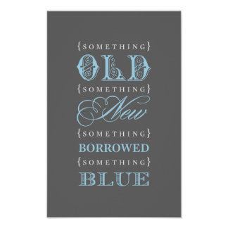 Bridal Shower Sign | Old New Borrowed Blue Theme Print