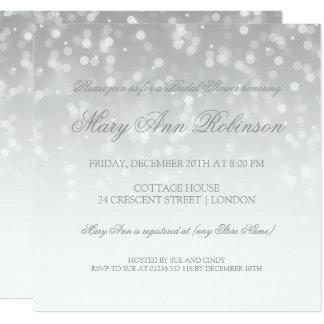 Bridal Shower Silver Bokeh Sparkle Lights Card