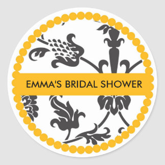 Bridal Shower Spring Floral Labels Classic Round Sticker