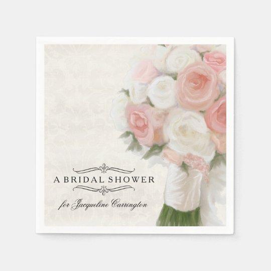 Bridal Shower Spring Roses Floral Modern Bouquet Disposable