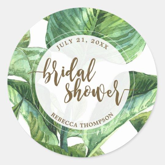 bridal shower sticker palm leaves tropical