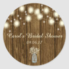Bridal Shower Sticker, Rustic Sticker, Rustic Classic Round Sticker