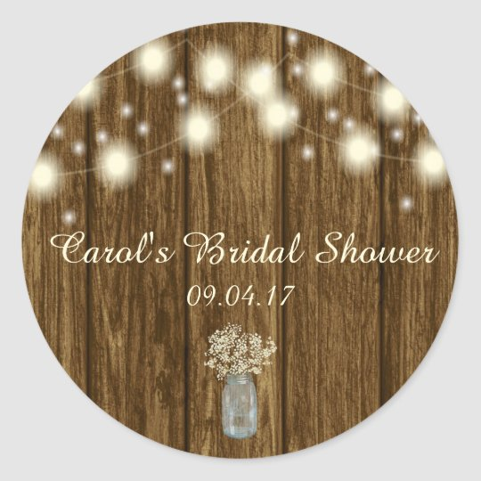 Bridal Shower Sticker, Rustic Sticker, Rustic Round Sticker