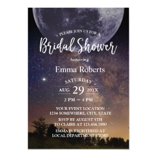 Bridal Shower Summer Starry Night Sky with Moon Card