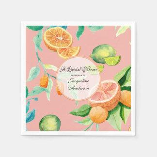 Bridal Shower Tea Citrus Coral Orange Lemon Garden Disposable Napkins