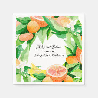 Bridal Shower Tea Citrus Leaf Orange Lemon Garden Disposable Napkins