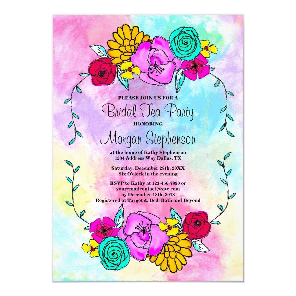 Bridal Shower Tea Party Floral Watercolor Invitation