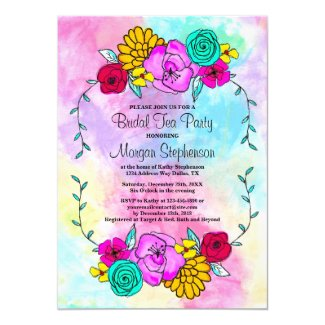Bridal Shower Tea Party Floral Watercolor Invitation