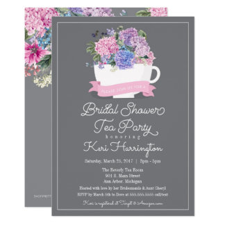 Bridal Shower Tea Party Invitation Pink Hydrangea