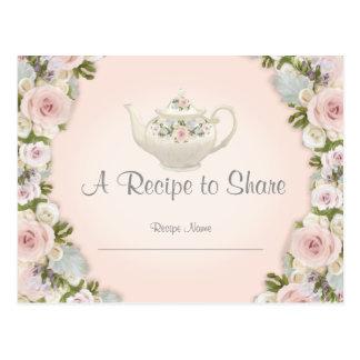 Bridal Shower Tea Party Recipe Rose Pretty Floral Postcard