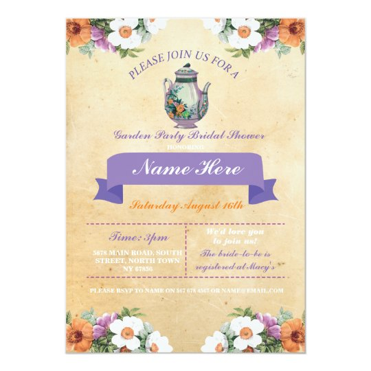 Bridal Shower Teapot Alice In Wonderland Invite