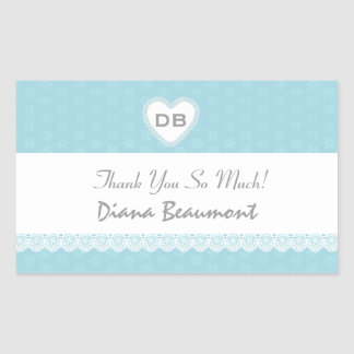 Bridal Shower Thank You Aqua and White Lace V04 Stickers