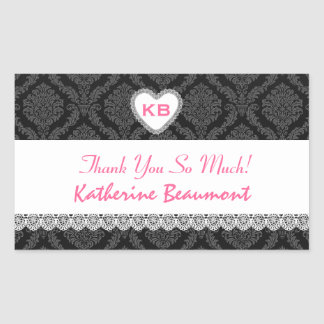 Bridal Shower Thank You Black and Pink Damask V23 Rectangle Stickers