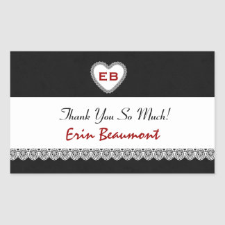Bridal Shower Thank You Black Red White Lace V07 Rectangle Stickers