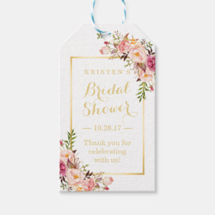 Gift tags zazzle bridal shower thank you elegant chic flowers gift tags negle Image collections