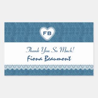 Bridal Shower Thank You French Blue Damask V08 Rectangle Sticker