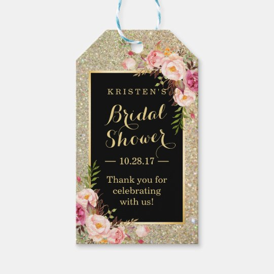 Bridal Shower Thank You Gold Glitter Pink Flowers