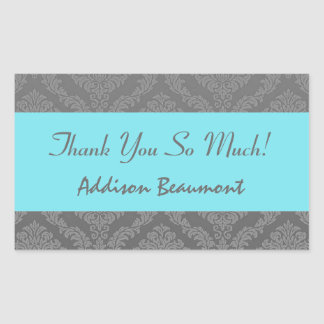 Bridal Shower Thank You Gray and Aqua Damask V05 Rectangle Stickers