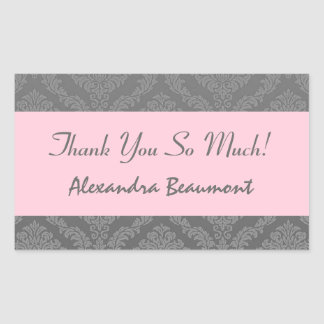 Bridal Shower Thank You Gray and Pink Damask V02 Stickers
