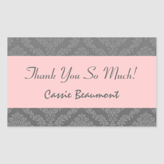 Bridal Shower Thank You Gray and Pink Damask V45A Rectangular Sticker