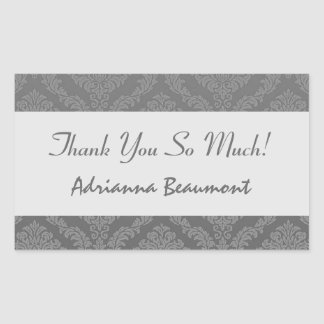 Bridal Shower Thank You Gray and Silver Damask V01 Stickers