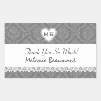 Bridal Shower Thank You Gray Damask V18 Rectangular Sticker