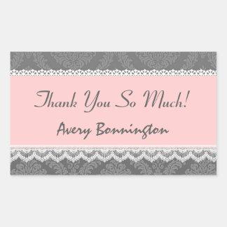 Bridal Shower Thank You Gray Pink Lace Damask V3 Rectangular Sticker